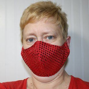 HANDMADE Red Sequin Fabric Face Mask Shield